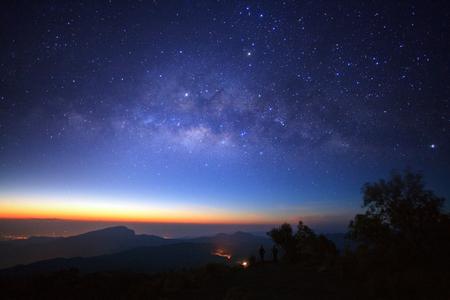 milky way galaxy before morning sunrise at Doi inthanon Chiang mai, Thailand. Long exposure photograph. With grain