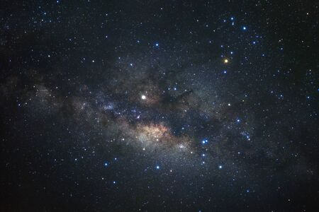 Milky way galaxy with stars and space dust in the universe, Long exposure photograph, with grain. 写真素材