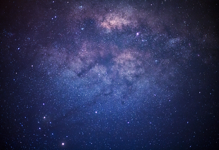 Close-up of Milky Way Galaxy, Long exposure photograph, with grain   Stock Photo