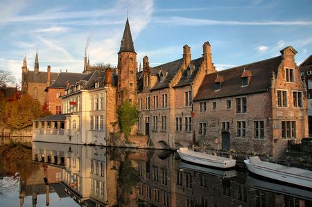 Buildings On Canal In Brugges, Belgium