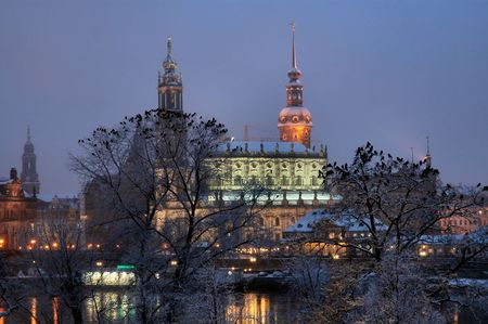 dresden: Night view in snow of Frauenkirche in Dresden, Germany