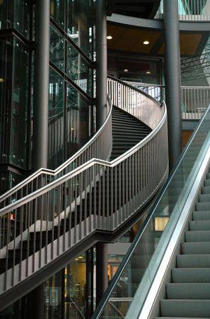 Stairs & Escalator In Mall In Leipzig Banco de Imagens
