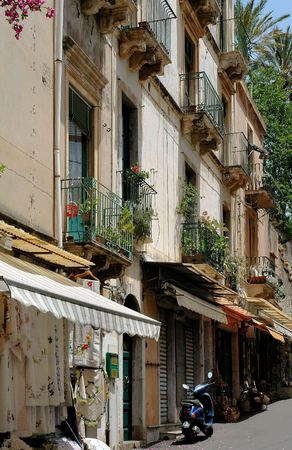 awnings: Storefronts In Taormina, Sicily Stock Photo
