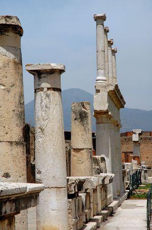 pompeii: Columns In Pompeii, Italy Stock Photo