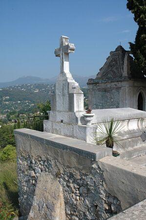 Cemetery Cross In Saint Paul de Vence, France Фото со стока