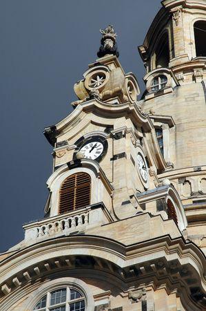 Frauenkircke Steeple and Dome In Dresden, Germany 版權商用圖片