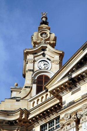 Frauenkircke Steeple & Clock In Dresden, Germany