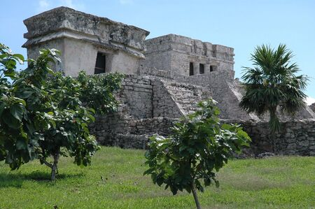 archeological site: Ancient Temple At Mayan Archeological Site Stock Photo