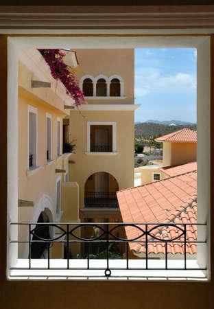 view through: View through the window Stock Photo