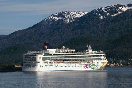 Cruise ship docked in Juneau, Alaska photo