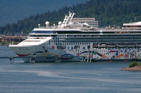 Cruise ship docked in Juneau, Alaska harbor photo
