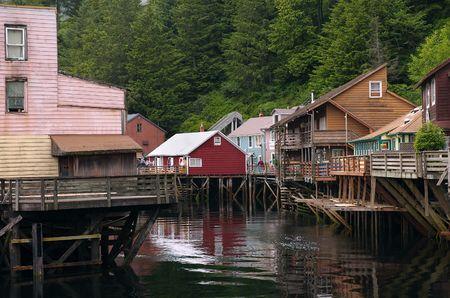 alaska scenic: Historic Creek Street in Ketchikan, Alaska