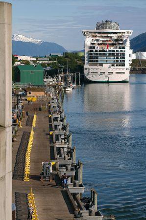 shipped: Cruise shipped docked at pier in Juneau, Alaska Stock Photo