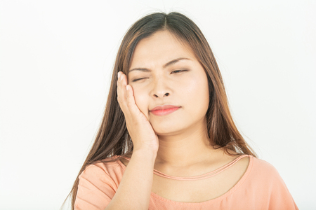 Toothache and root canal problems Swollen gums and pain 版權商用圖片