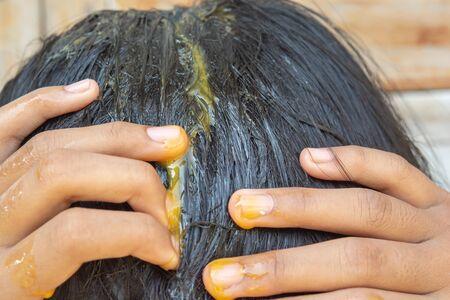 Egg yolk and hair treatment