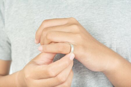 Ring on a woman's finger Stock fotó