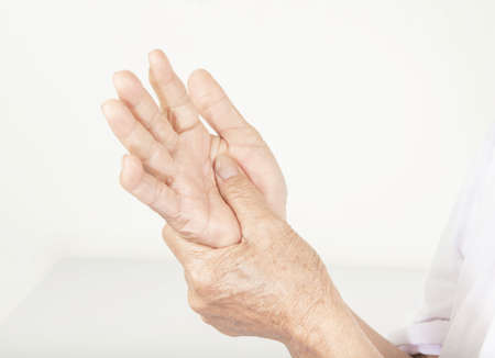 Wrist Pain in older women. Standard-Bild