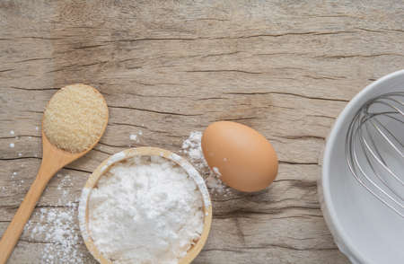 Flour and eggs with sugar