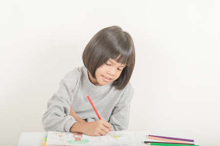 Kids with coloring Standard-Bild