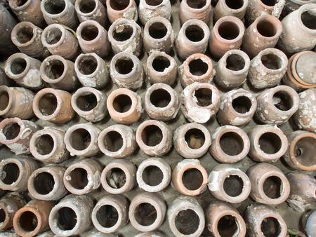 heap of many terracotta clay pots photo