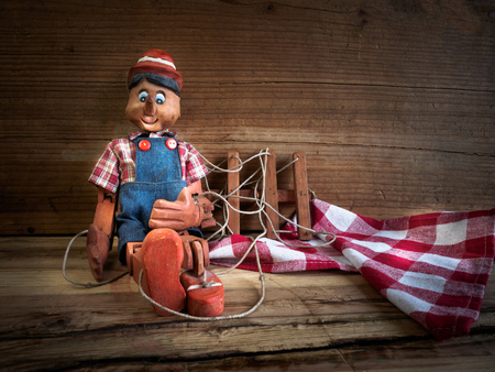 puppets: Traditional puppets made of wood. Stock Photo