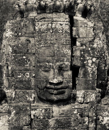 Face of Bodhisattva Loki State Ice King in black and white