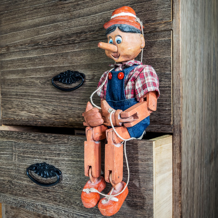 Pinocchio puppet made from wood.These items are a collection of my own.