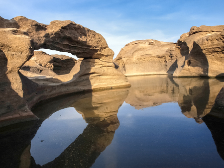Natural of Rock Canyon in Khong River after the water come down in Summer