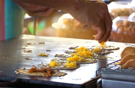 Close up of Thai Crispy Pancake making
