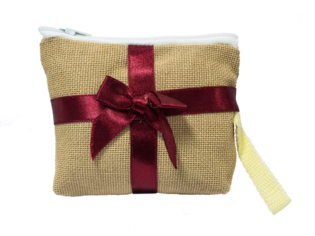Brown coin bag made of cotton