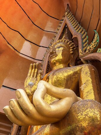 Big golden Buddha statue  Wat Tham Suea,Kanchanaburi,Thailand
