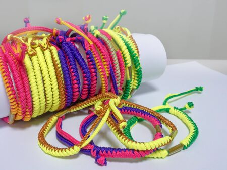 Thai colorful hand holy thread for keep safety, Lucky and good luck in everything.