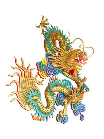 Kolorowy chiński smok na białym tle