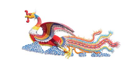 Colorful of Chinese swan statue on white background Stock Photo