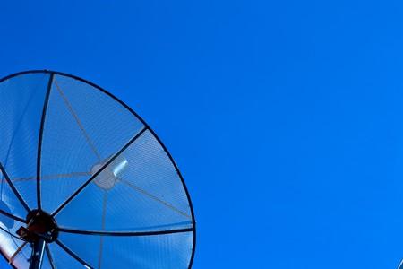 Satellite disc in blue sky Stock Photo