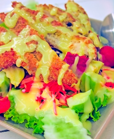 Fried chicken salad photo