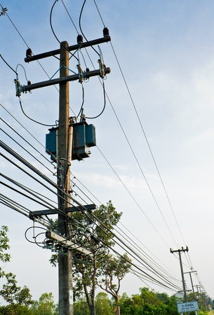 conductor electricity: Transformer and electric line in rural of Thailand Stock Photo