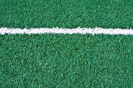 Fake grass soccer field with line Stock Photo
