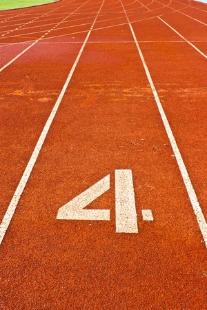 one lane: Number four on the start of a running track