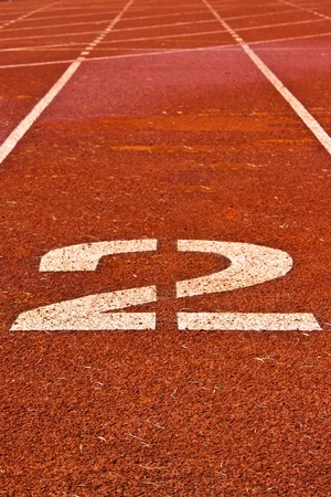 Number two on the start of a running track Stock Photo - 10829345
