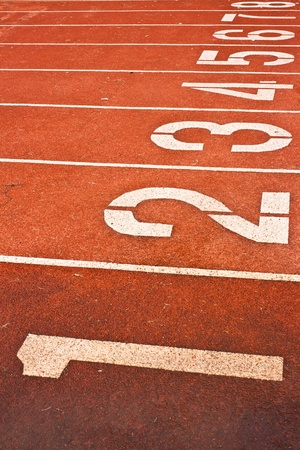 one lane: Running Track With Numbered Lanes