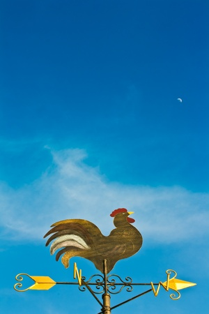 a cockerel wind vane against blue sky photo