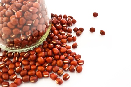 macrobiotic: azuki beans in a bottle isolate on white background