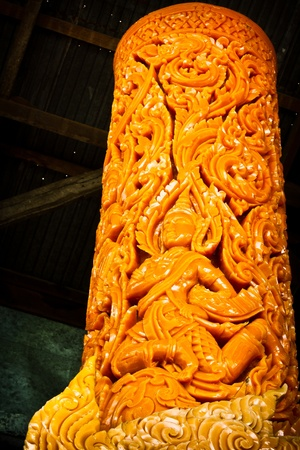 Thai style molding art on the candle in Candle Festival at Ubonratchathani