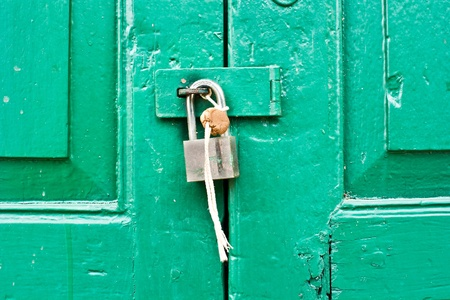 Green door locked  photo
