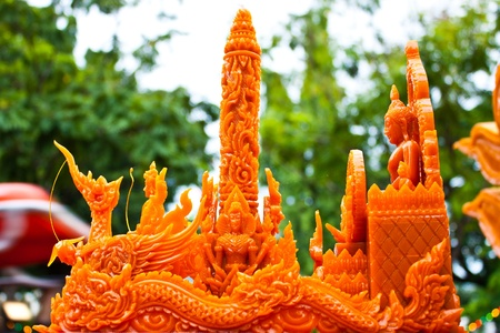 Thai style molding art in Candle Festival at Ubonratchathani photo