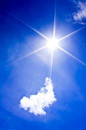 Beautyful blue sky with  cloud and sun,may be used as background Stock Photo - 11552060