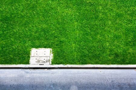 Green grass space near city street photo