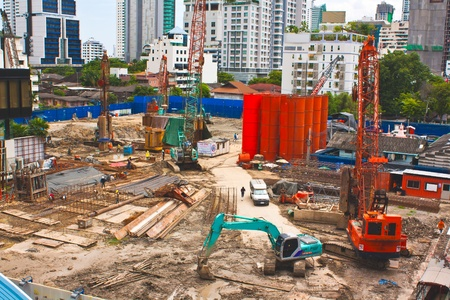 Construction site in the city present business growth Editorial