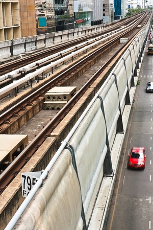 Sky train railway in Bangkok with business building Stock Photo - 11543104